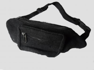Black Nature Hemp Belt Bags