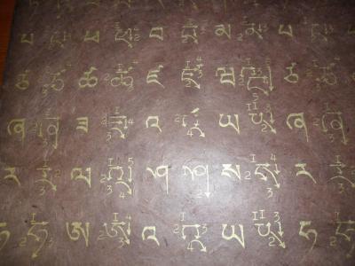 Papel de Lokta con palabras del alfabeto