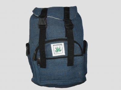 Blue Hemp Backpack with Straps