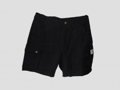 Pantalón corto negro de cáñamo y algodón