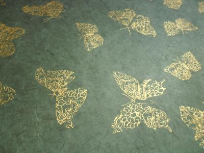 Lokta Paper with butterfly drawings Green