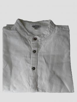 Mao collar Shirt made of Linen and Cotton