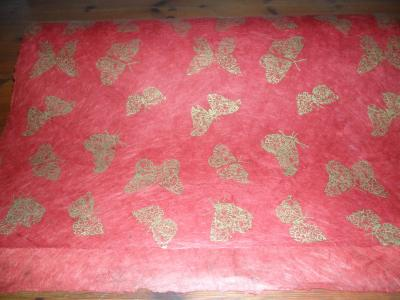 Lokta Paper with butterfly drawings Red