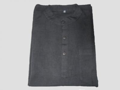 Black Mao collar Shirt of Bamboo and Hemp