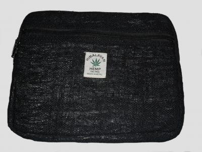 Klein Tablet-Tasche aus Hanf Schwarz
