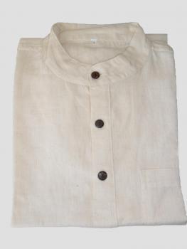 Mao-Kragen Hemd aus Hanf und Baumwolle