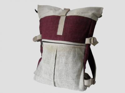 Barcelona Roll-top Rucksack aus Hanf und Baumwolle